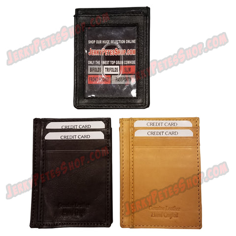 #387 SLIM/Front Pocket, Also Know As A Vertical Wallet, 1 ID Slot & 3 Credit Card Slots