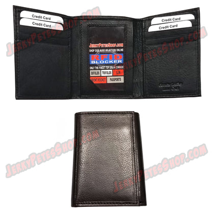 #62312 RFID Protected Leather TRIFOLD Wallet, 1 ID Window Slot, 8 Credit Card Slots, 1 Card Size Pocket In The Currency Area & 2 Pockets