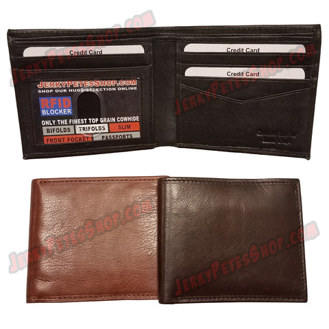 #62314 RFID Protected Leather BIFOLD Wallet, 1 ID Window Slot, 5 Credit Card Slots & 2 Pockets
