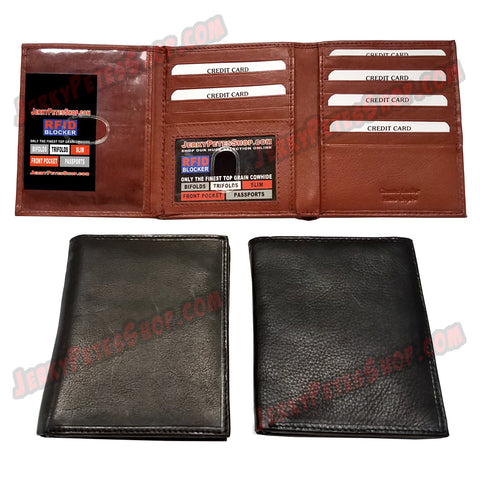 "#62338 RFID Protected Leather BIFOLD Wallet, Also Know As The ""Costanza"" Wallet Or The ""Businessman"" Wallet, 1 Regular ID Window Slot & 1 Oversize ID Window Slot, 20 Credit Card Slots & 3 Large Pockets"