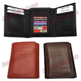 #62363 RFID Protected Leather TRIFOLD Wallet, 2 ID Window Slots, 9 Credit Cards & 3 Pockets