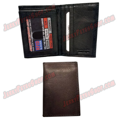 #62366 RFID Protected Leather SLIM/Front Pocket Wallet, 1 ID Window Slot, 10 Credit Card Slots