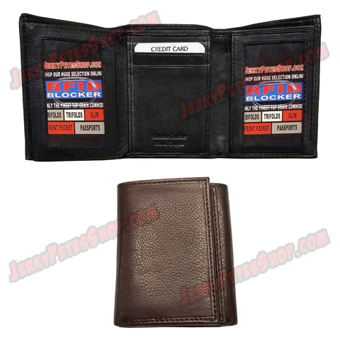 #62368 RFID Protected Leather TRIFOLD Wallet, 2 ID Window Slots, 9 Credit Card Slots & 2 Pockets