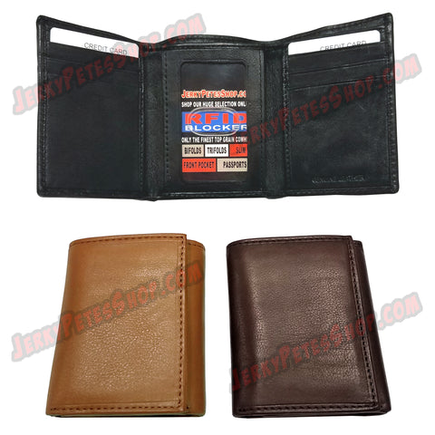 #62514 RFID Protected Leather TRIFOLD Wallet, 1 ID Window Slot, 6 Credit Card Slots & 2 Pockets