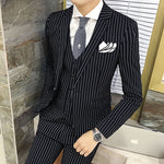 Pen-Striped 3-Piece Suit-Grooms Tuxedos~3 Colors