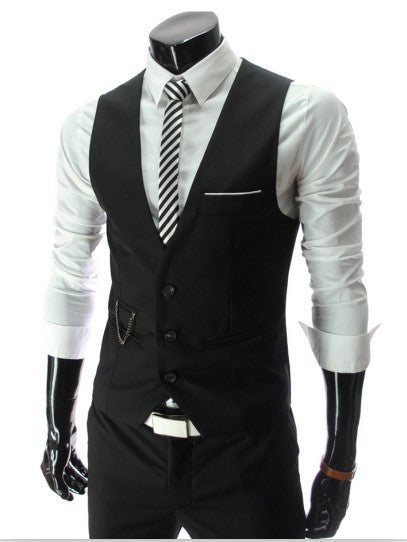V-necked Suit Vest~M-2XL~4 Colors