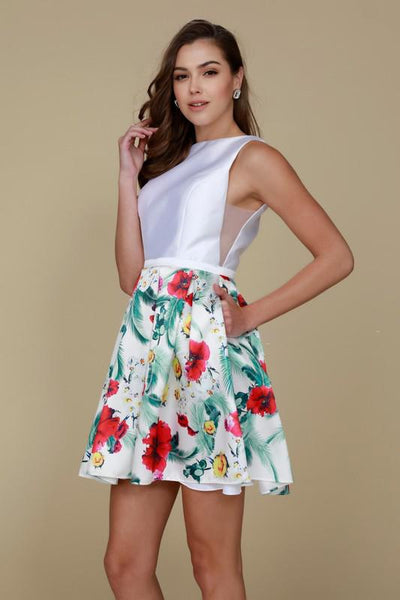 2018 NEW Floral White Homecoming Dress for The Evenings NXQ607