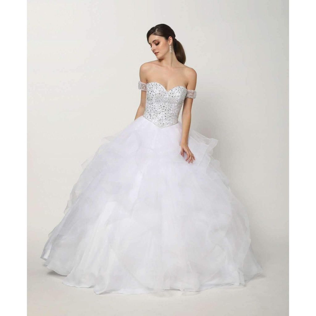 Sweetheart Neckline Ballgown Jeweled Long Dress JT1425