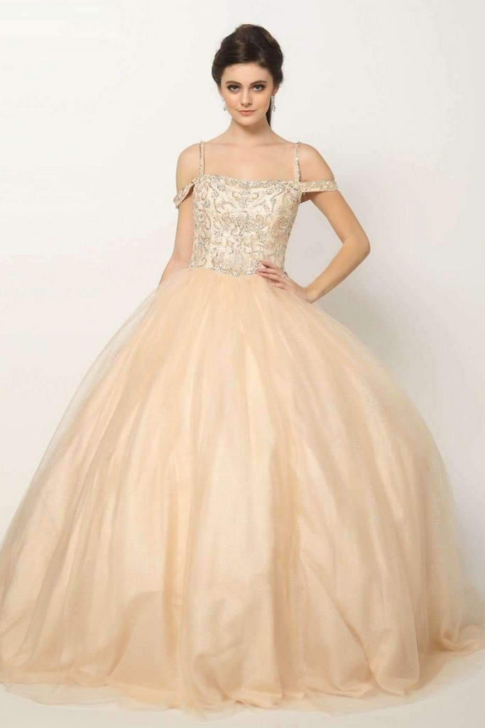 Jeweled Bateau Neckline Ballgown Long Quinceanera Dress JT1426