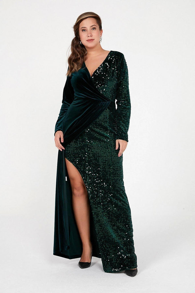 GREEN V-Neckline Long Sleeves Plus Size Mother of the Bride Dress TKS-20K0290013