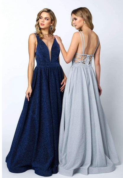 V-Neckline Sleeveless A-Line Prom Dress JT201