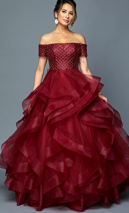 Jeweled Sleeveless Ballgown Long Dress JT#395