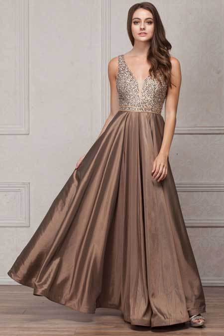 Taupe A-line Evening Gown AC772