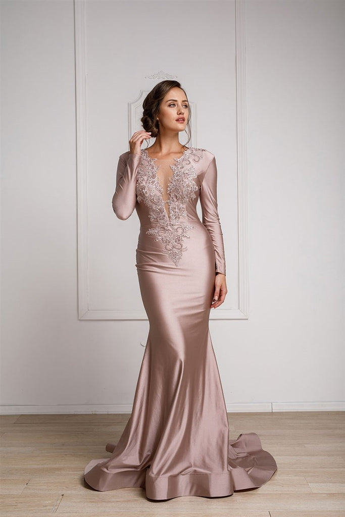 Trendy Mother Of The Bride Long Sleeves Mermaid Dress Open Back AC372