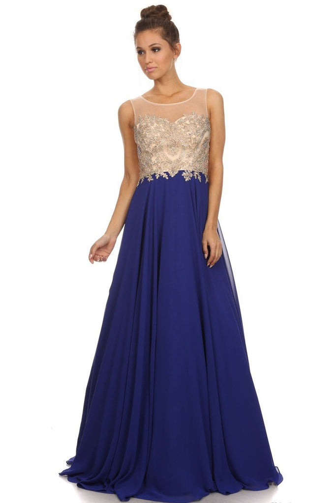 Royal Blue Long Prom Dress with Beading Applique Bodice