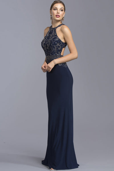 Elegant Halter Mermaid Long Gown Gowns APL2065-Prom Dresses-smcfashion.com