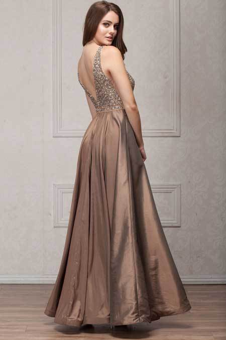 Taupe A-line Evening Gown AC772 1