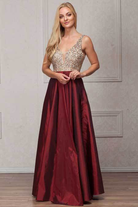 Burgundy A-line Evening Gown AC772