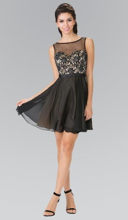Sleeveless Short Cocktail Dress with Bead and Lace Bodice GSGS1466