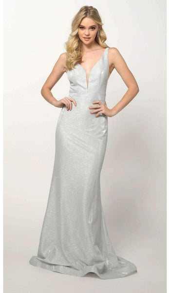 V-Neckline Sleeveless Long Prom Dress JT695