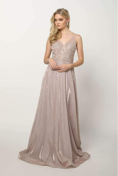 Jeweled V-Neckline Sleeveless Long Prom Dress JT699