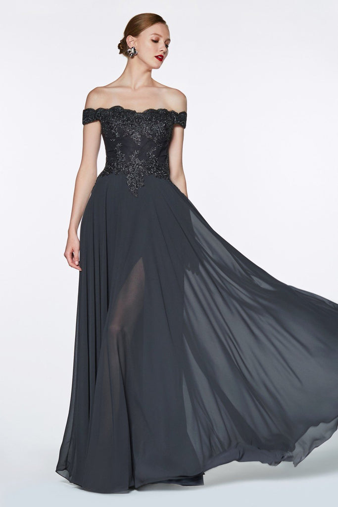Off-Shoulder Bateau Neckline A-line Long Evening Gown CD7258