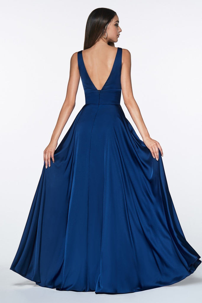 Satin Flowy A-line Long Prom Dress with Leg Slit CD7469 - smcfashion.com