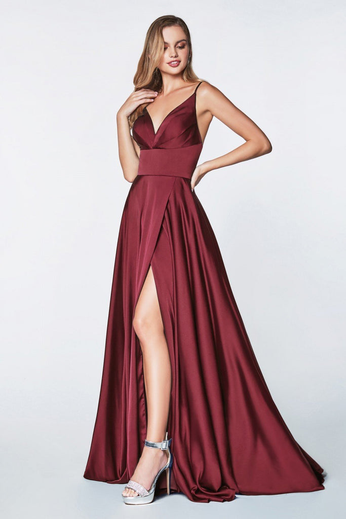 Spaghetti Strap Sleeveless Leg Slit Long Prom Dress CD7472 - smcfashion.com