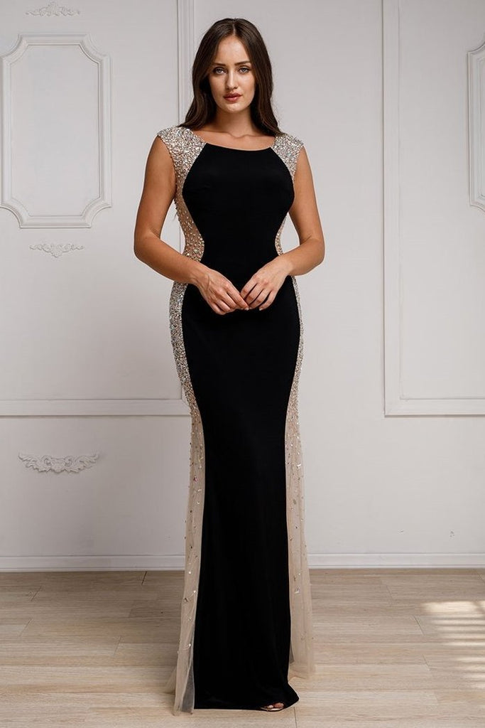 Scoop Neckline Sheath Long Jeweled Evening Dress AC785