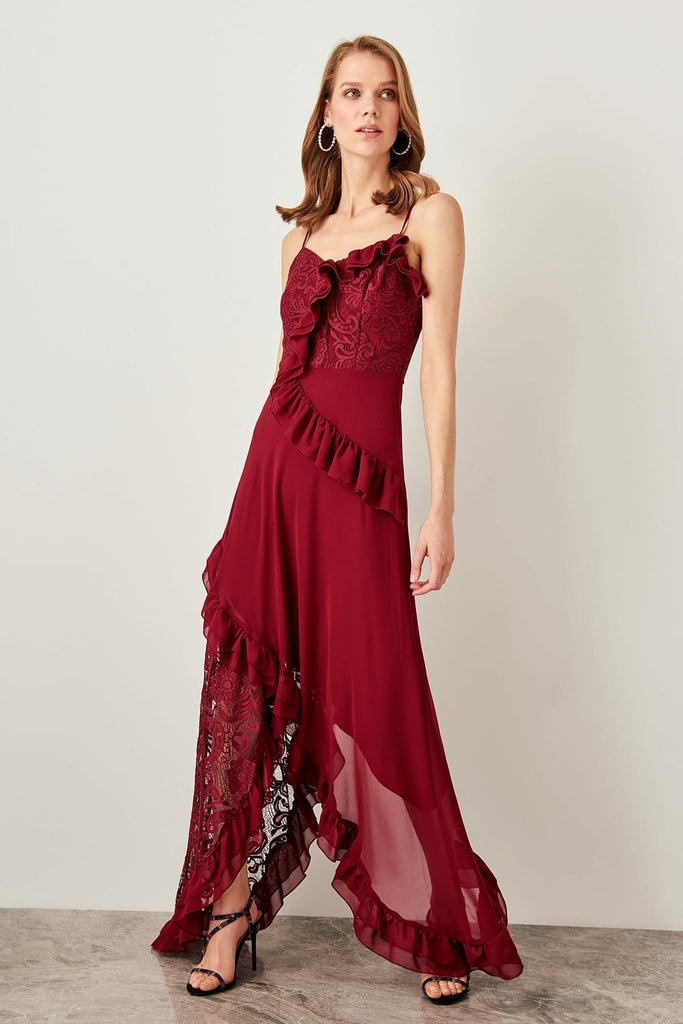 V-Neckline Sleeveless Spaghetti Strap Long Evening Dress TKTPRSS19UZ0054