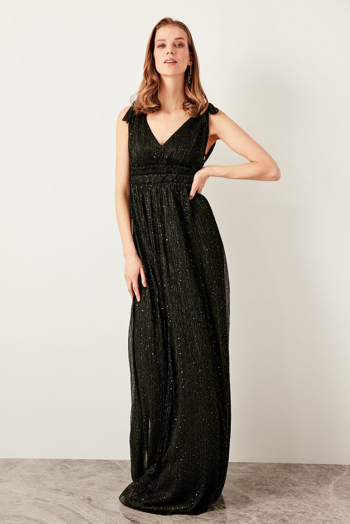Sequined Sleeveless V-Neckline BLACK Long Evening Dress TKTPRSS19FZ0175