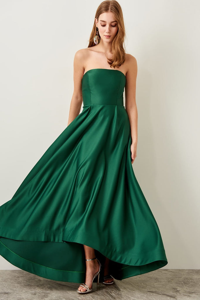 GREEN Bateau Neckline Strapless Long Evening Dress TKTPRSS19DE0031