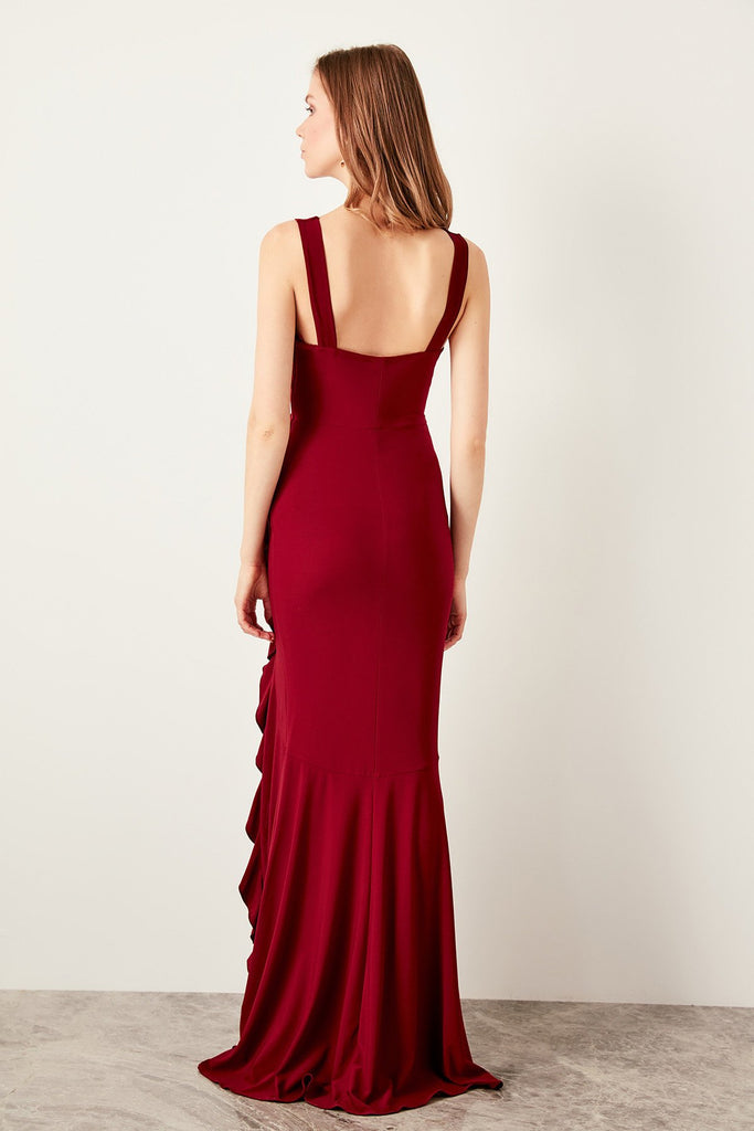 V-Neckline Sleeveless Pleated Long Evening Dress TKTPRSS19UT0026