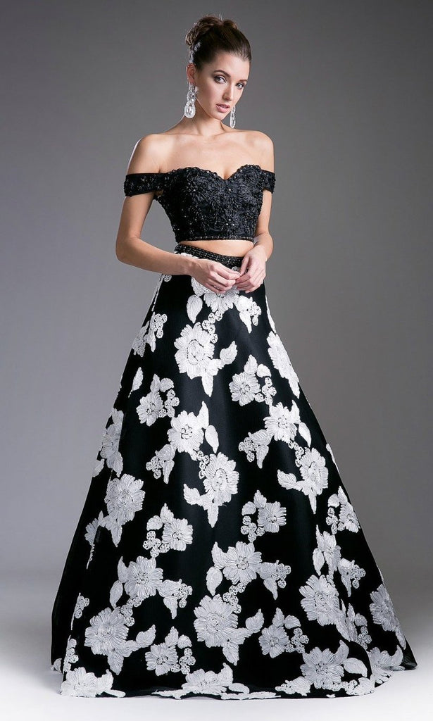 Beaded Bodice 2 Piece Embroidered Novelty Long Prom Gown CD8945