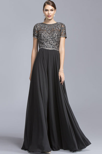Illusion A-line Cute Long Dresses With Short Sleeves APM2045-Prom Dresses-smcfashion.com