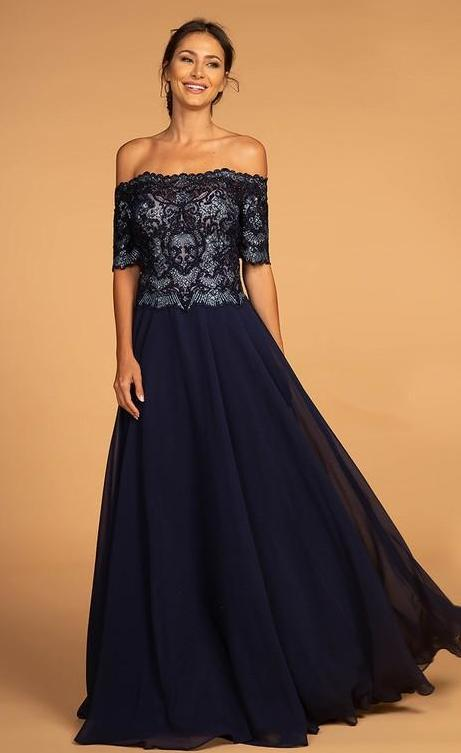 2018 NEW Embroidered Bodice Off-the-Shoulder Chiffon Evening Long Dress GSGL2525