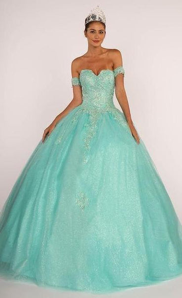 Cut-Away Shoulder Corset Back Quinceanera Prom Dress GSGL2604