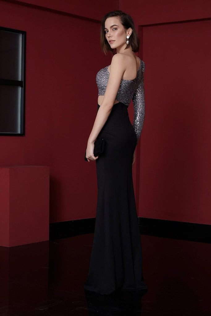 One Shoulder One Sleeve Sequined Long Evening Dress TK1104293