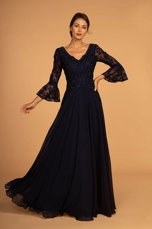 Lace Embellished Bodice 3/4 Sleeve Chiffon Long Mother of the Bride Dress GSGL2521