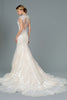V-Neckline Cap Sleeve Lace Wedding Dress GS1802