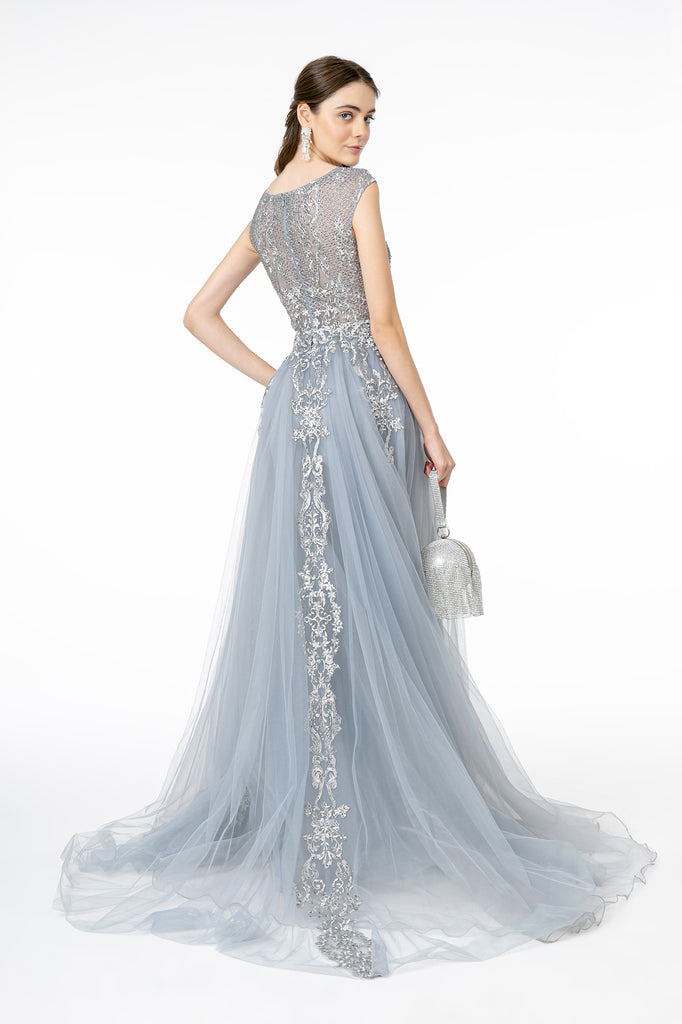 Scoop Neck Lace Cap Sleeve Prom Dress GSGL1808