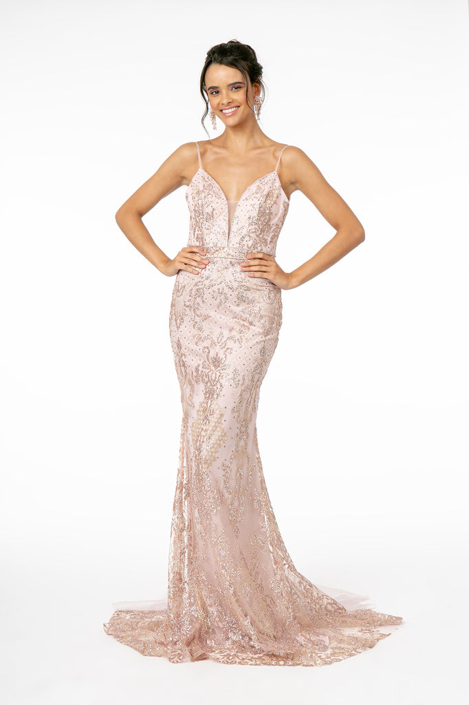 Gliiter Illusion Deep V-Neck Mermaid Long Evening Dress GSGL1843