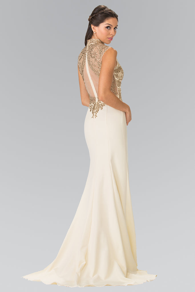 High Neckline Sleeveless Beaded Bodice Long Prom Dress GSGL2322