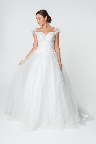 Sweetheart Neckline Jeweled Long Wedding Dress GSGL2817