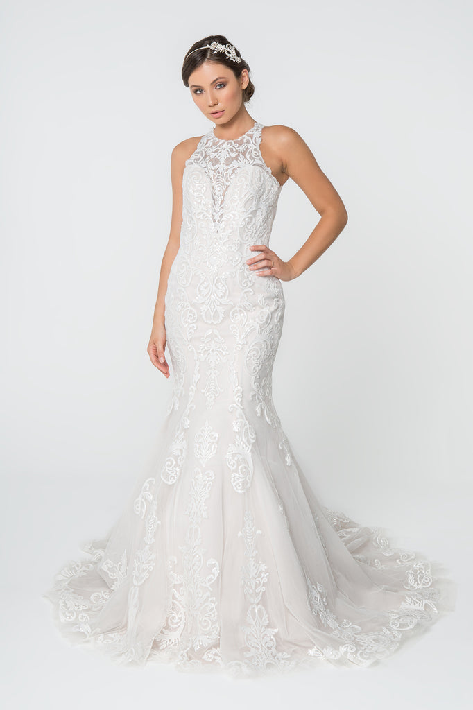 High Neckline Sleeveless Trumpet Wedding Dress GSGL2818