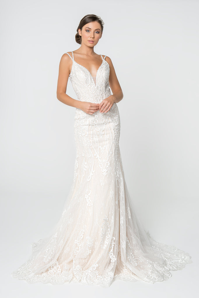 V-Neckline Sleeveless Long Wedding Gown GSGL2820