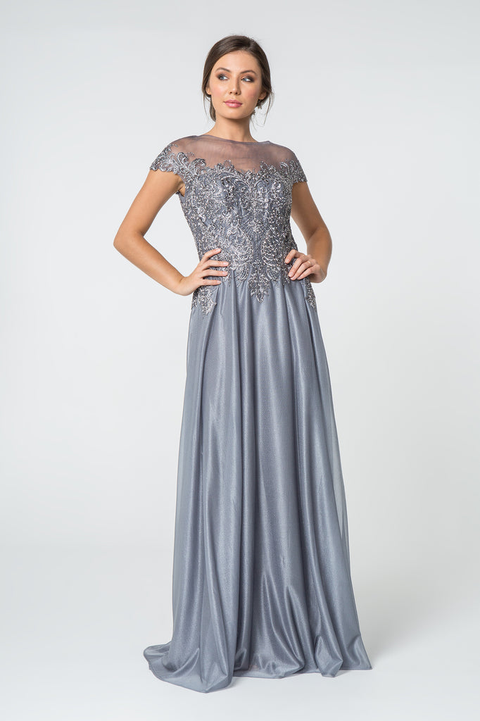 Illusion Nekcline Cap Sleeves Long A-line Evening Dress GSGL2828