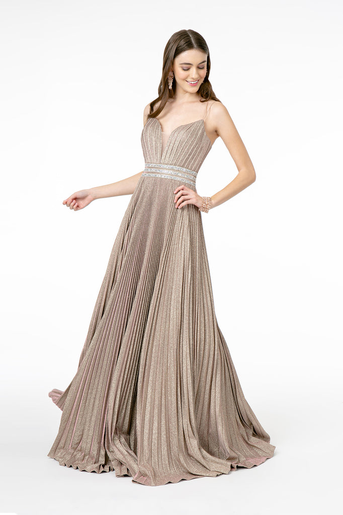 Illusion V-Neck A-Line Pleated Long Dress GSGL2905