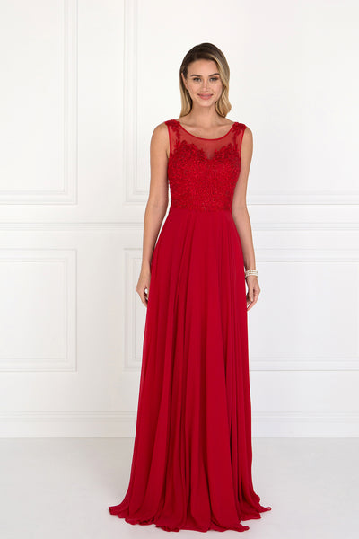 Scoop Neck Sleeveless A-Line Evening Dress GSGL1569