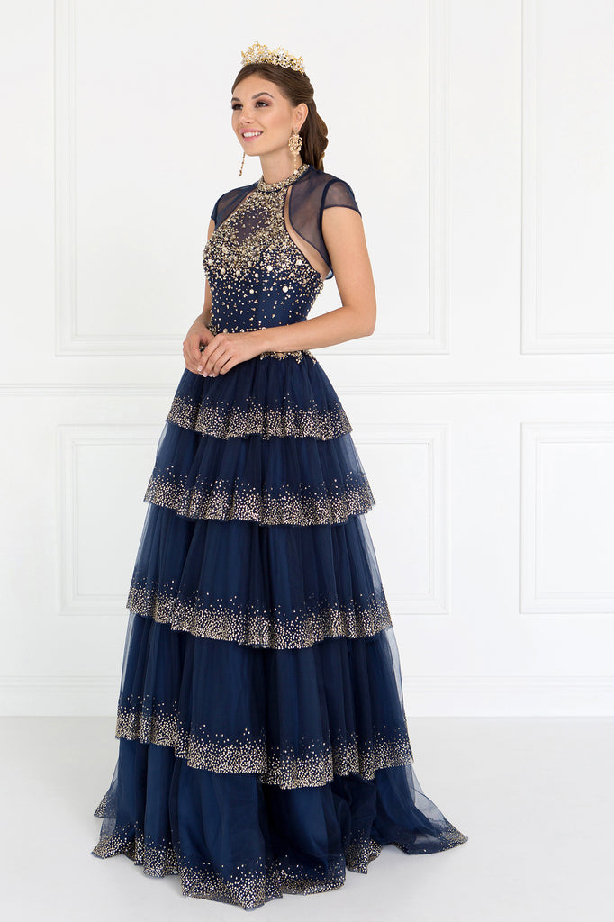 Jeweled Navy Ballgown Maxi Length Dress GSGL1591
